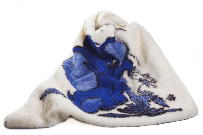 Pläd med blå elefant
